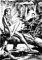 Illustration accompanying the original publication in Imagination magazine of short story Piper in the Woods by Philip K Dick