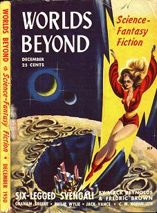 Cover by Paul Calle of inaugural issue of Worlds Beyond magazine - December 1950, edited by Damon Knight