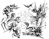 One of the illustrations by Leo Summers accompanying the original publication in Analog Science Fact and Fiction magazine of short story Subjectivity by Norman Spinrad. Image shows the space travelers harassed by monsters cooked up by their vivid imaginations induced by a hallucinogenic substance.