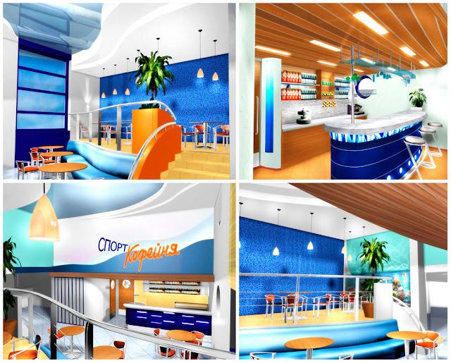 Дизайн спорт-кофейни,фитнесс-центр