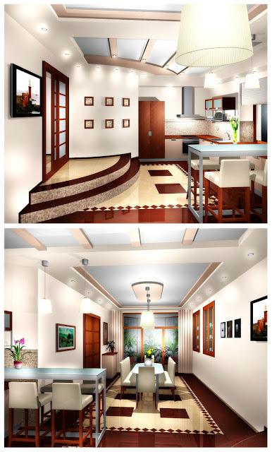 Проект интерьера кухни и столовой коттеджа в п.Таватуй