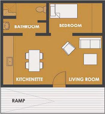 Plano de casa de 1 dormitorio y 45 metros cuadrados for Dormitorio 10 metros cuadrados