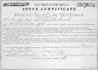 Stock certificate of the Masonic Society of Waterman, USA
