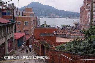 從重建街可以望見淡水河和觀音山