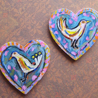 Bird Love , hand-painted bird magnets