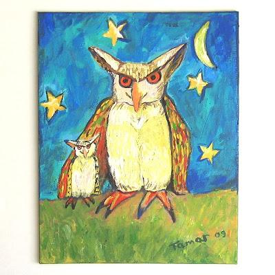 Tow Owls Under A Banana Moon