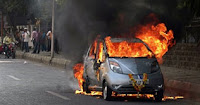 tata nano car catches fire