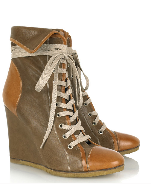 These are the original Chloe wedge lace-up boots.