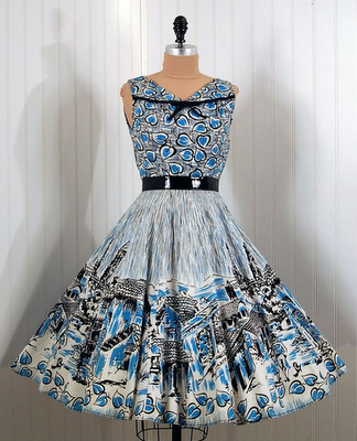 1950 S Colorful Dress With High Heels And Beautifully Coiffed Hair