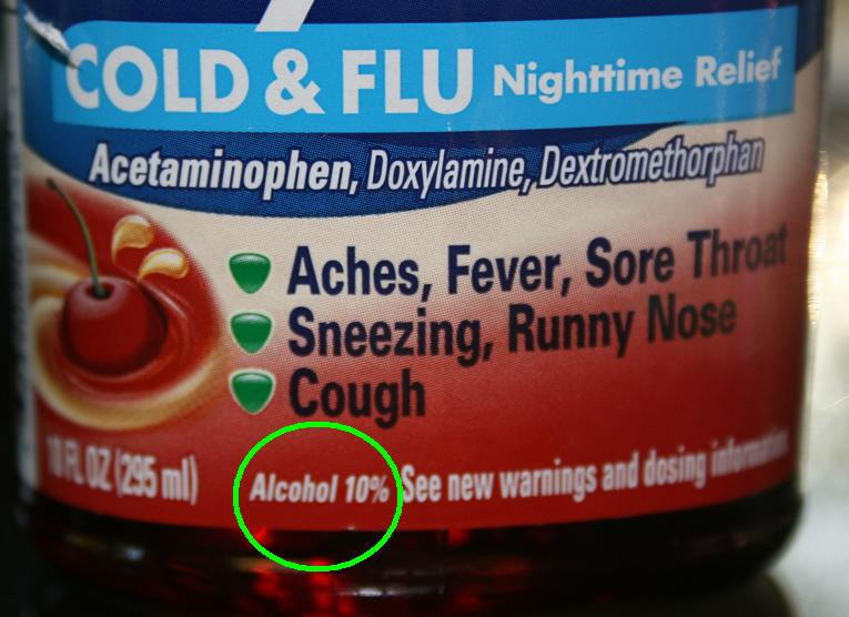 On Average, Beer Contains 5 7% Alcohol. Wine Contains 10 15% Alcohol. And  This Cough Syrup Has 10%. WOW. I Get Tipsy With Just A Couple Of Sips Of  Wine.