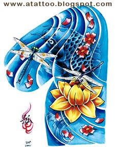 Carpa Azul, Libélula e Flor de Lótus