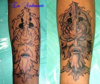 Tatuagem preto e cinza