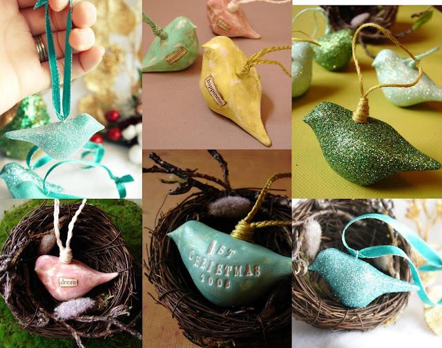 Ёлочная игрушка: птичка из полимерной глины