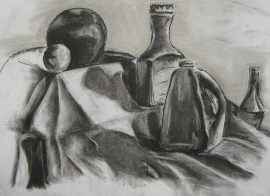 Still Life Charcoal Drawings Compressed charcoal drawing-