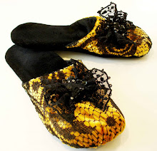Velvet and lace slippers