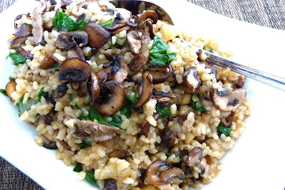 Toasted Brown Rice with Mixed Mushrooms, Spinach & Thyme Recipe ...