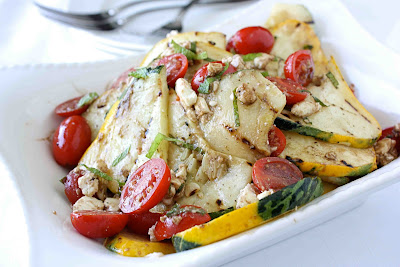 Grilled Pattypan (or Summer) Squash, Tomato & Feta Cheese Salad Recipe ...
