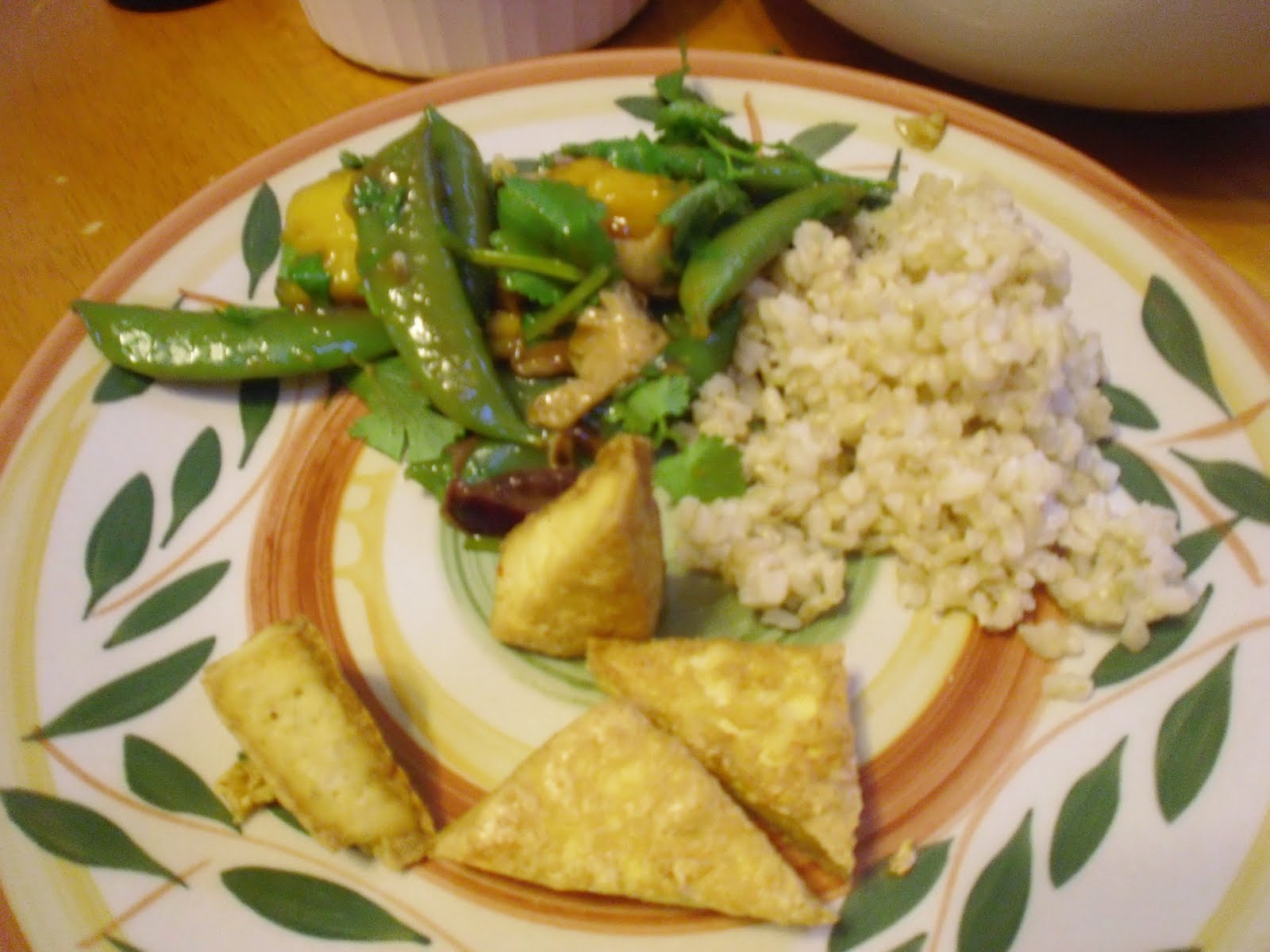 ... Baked Tofu with Peanut Dipping Sauce and Savory Mango Vegetables