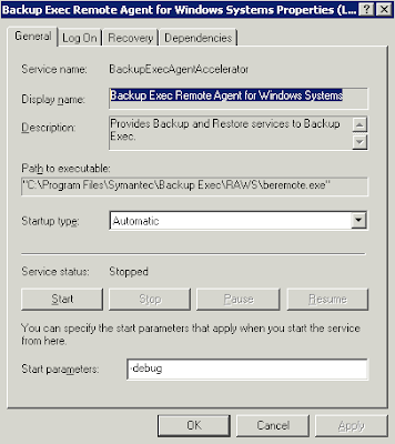 Backup Exec Remote Agent For Windows Systems Stopping