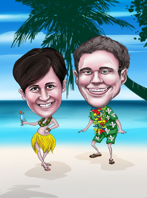 HAWAIIAN COUPLE CARICATURE