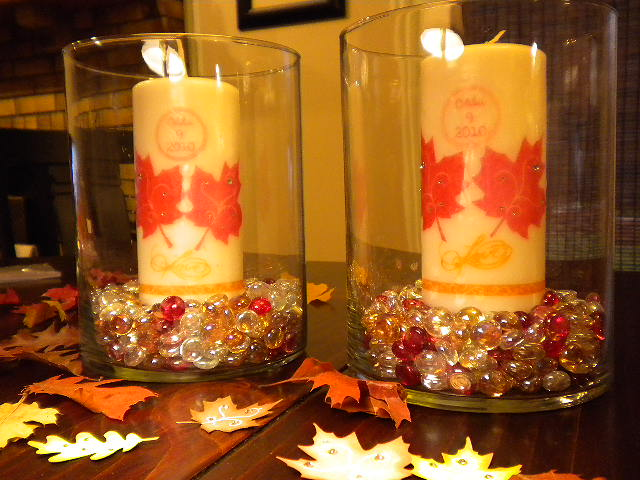 Scrappyandcrafty fall candle centerpiece