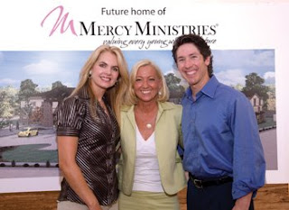 Nancy Alcorn pictured with Joel Osteen and Victoria Osteen