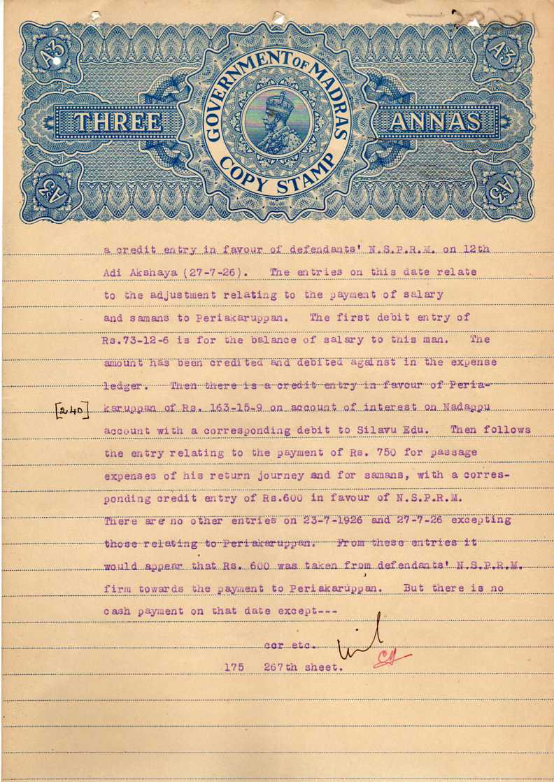 KING GEORGE V GOVT OF MADRAS THREE ANNAS STAMP PAPER
