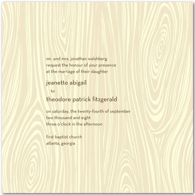 Wedding Invitation Paper on Wood Grain Ecru Wedding Invitation From Wedding Paper Divas