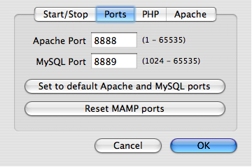 MAMP Preferences (Ports)