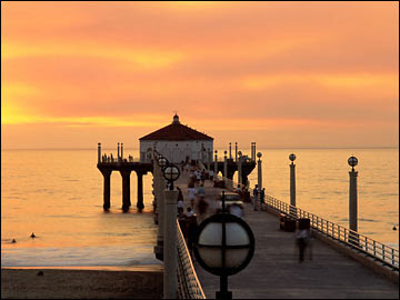 Los Angeles Santa Monica Beach at Sunset