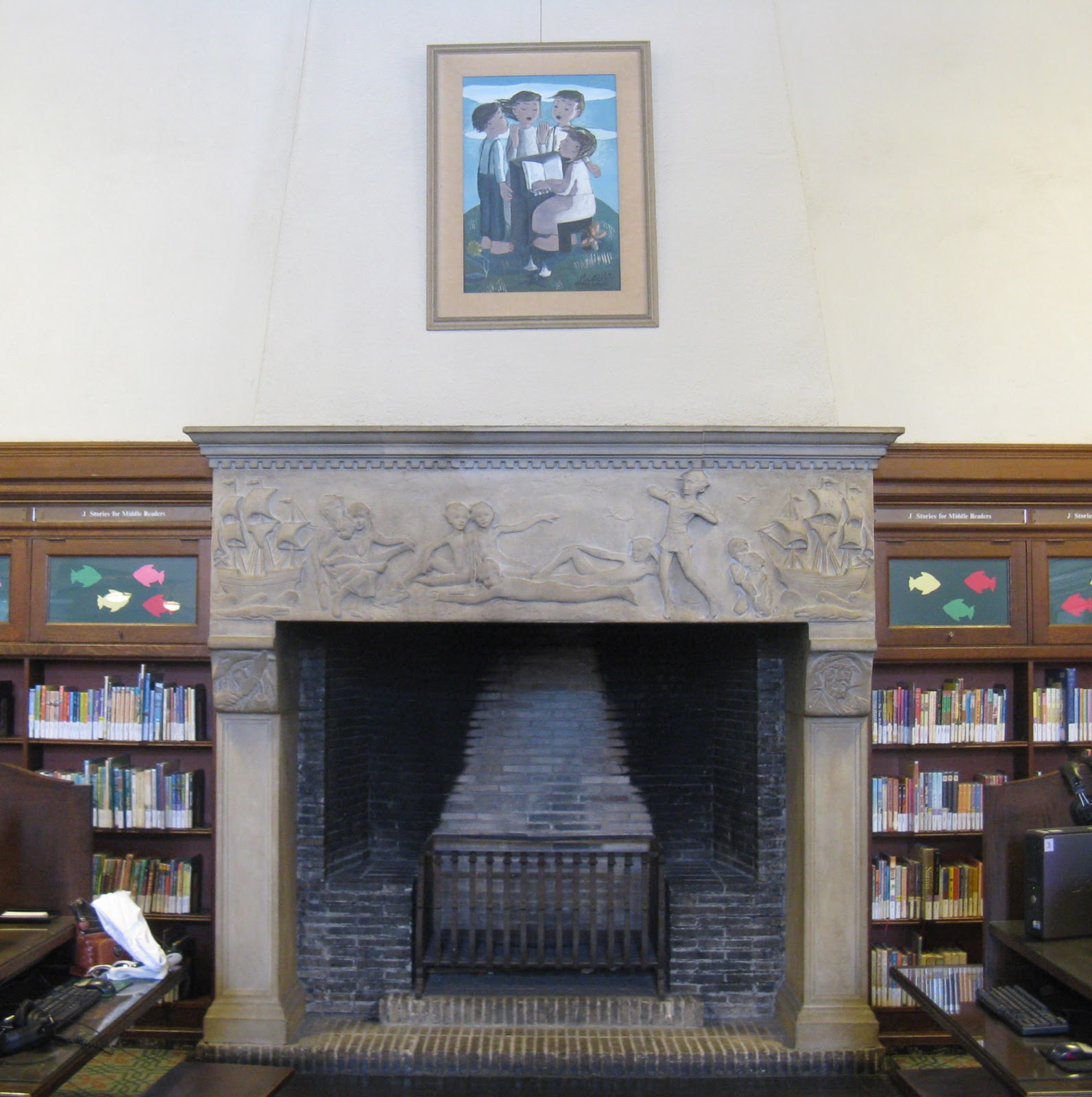 the sky is big in pasadena: library fireplace