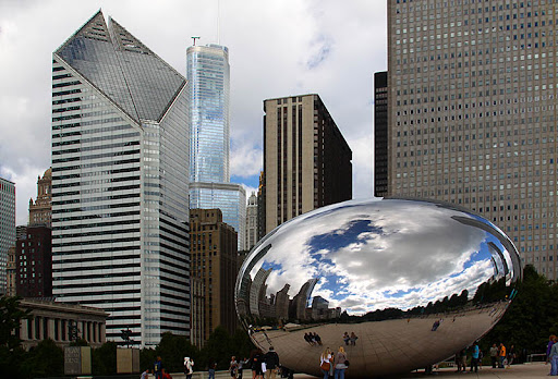 'Cloud Gate' (a.k.a. 'The Bean') sculpture, Millennium Park, Chicago, Illinois