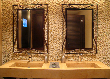 Custom Vanity for Restaurant with embedded wine bottle in surface