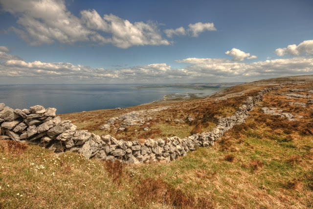 Scenic view of The Burren high in the mountains at Black Head between Fanore and Ballyvaughan villages
