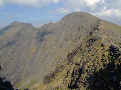 Benkeeragh ridge in the Macgillycuddy Reeks mountain range, county Kerry