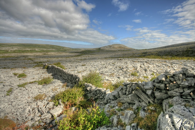 View from Mullaghmore mountain in The Burren National Park in county Clare