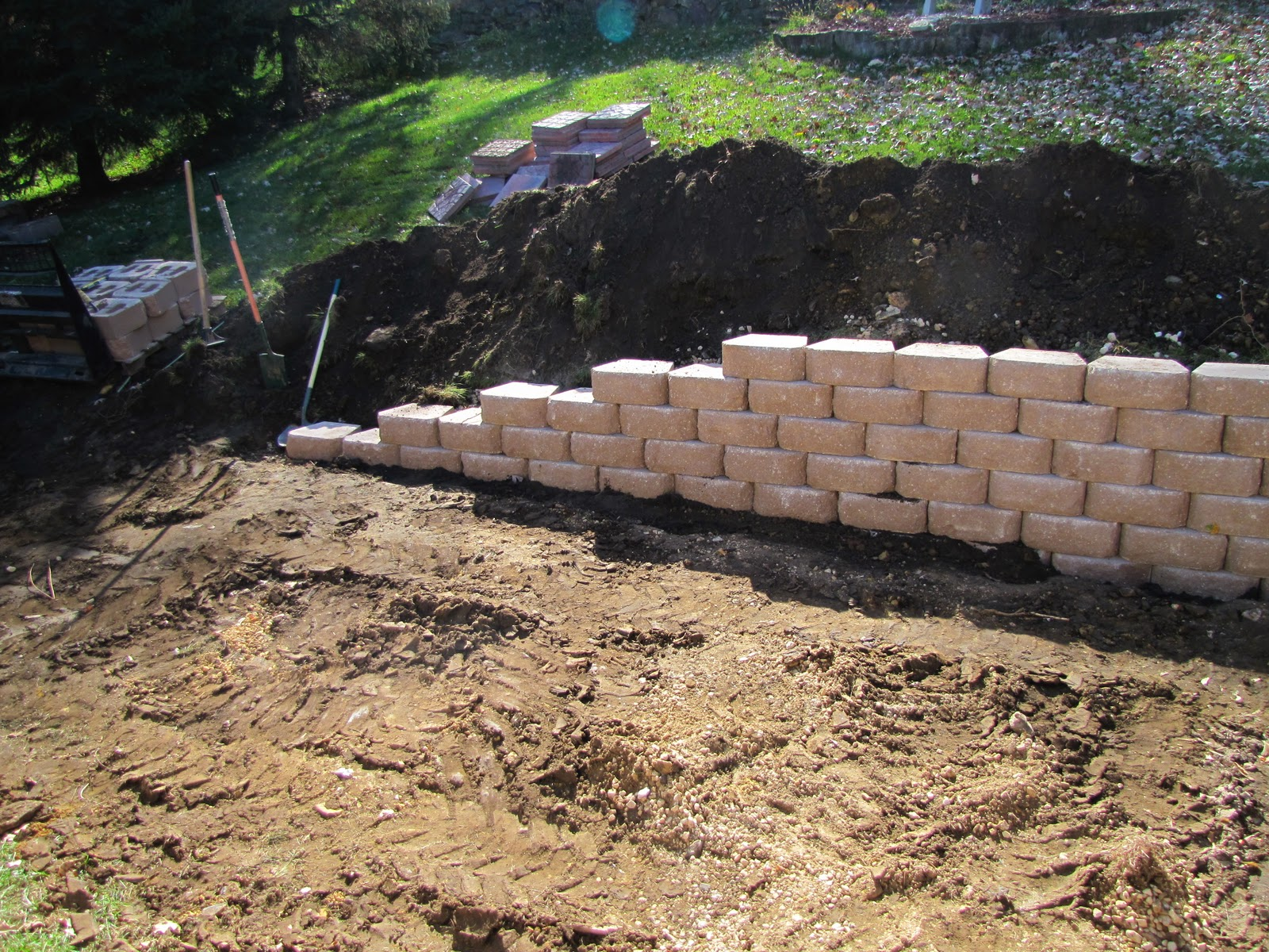 Backyard Retaining Wall Images : Sustainably Chic Designs Backyard Makeover Day 2 Progress