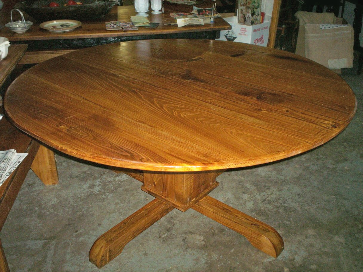 Real antiques 5 ft round cypress table and sofa table for Sofa table 6 ft