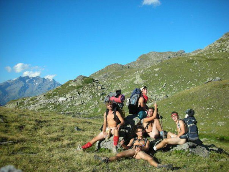boys hiking naked