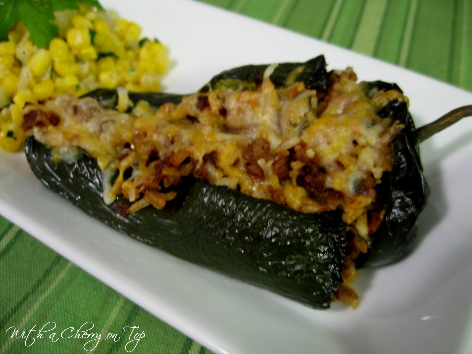 With a Cherry on Top: Stuffed Poblano Peppers