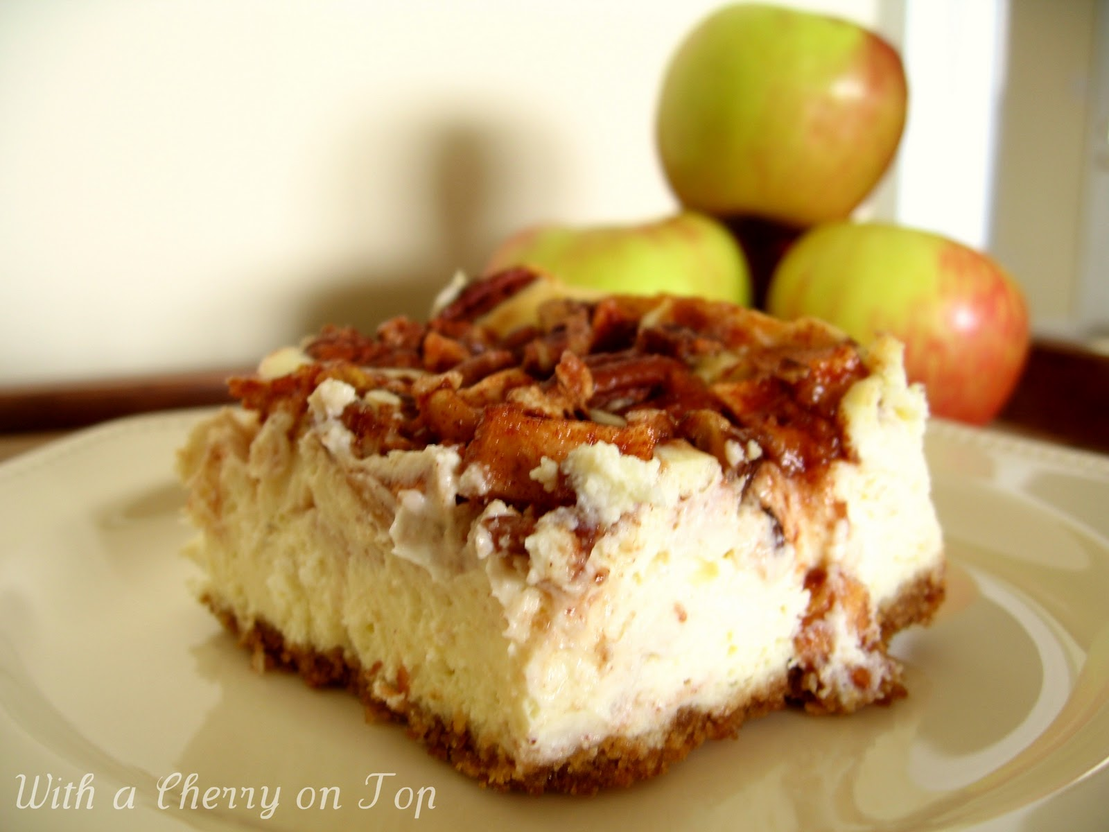 With a Cherry on Top: Apple Pecan Cheesecake - What's Baking Challenge