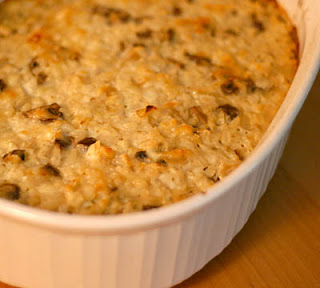 Mushroom and brown rice casserole, adapted from 101 Cookbooks
