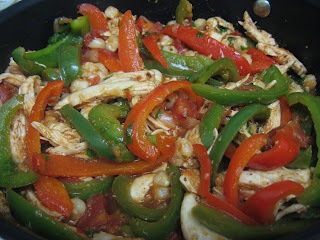 Hominy with shredded chicken and peppers from Lorna Sass's Whole Grains Every Day, Every Way