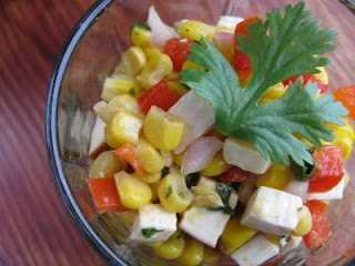 fresh corn and confetti salad with smoked aged cheddar from An Edible Symphony