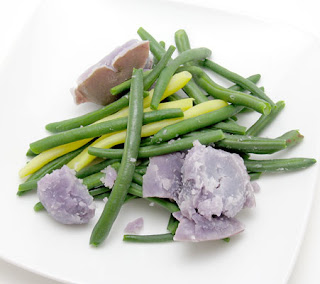 recipe for boiled green beans and purple potatoes
