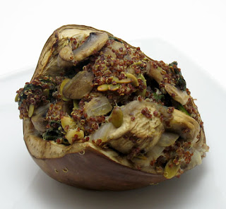 Red quinoa and mushroom stuffed eggplant, adapted from Healthy Green Kitchen