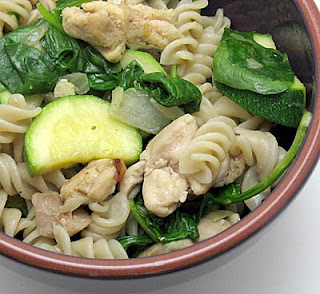 brown rice pasta with chicken, zucchini, and spinach
