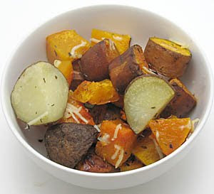 Roasted butternut squash and potatoes