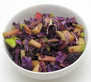 Red cabbage and apple salad, adapted from Dani Spies