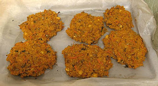 Millet and sweet potato burgers, adapted from The Whole Foods Market Cookbook